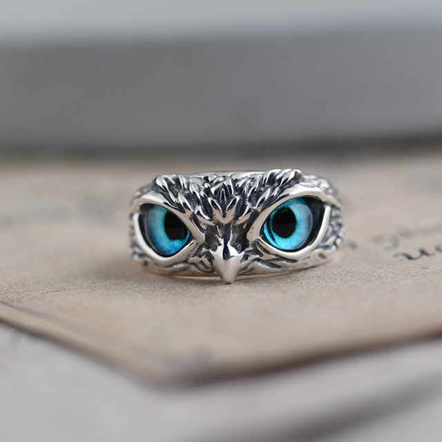 Charm Vintage Cute Men and Women Simple Design Owl Ring Silver Color Engagement Wedding Rings Jewelry Gifts 1