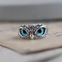 Charme vintage bonito homem e mulher design simples coruja anel prata cor noivado anéis de casamento jóias presentes