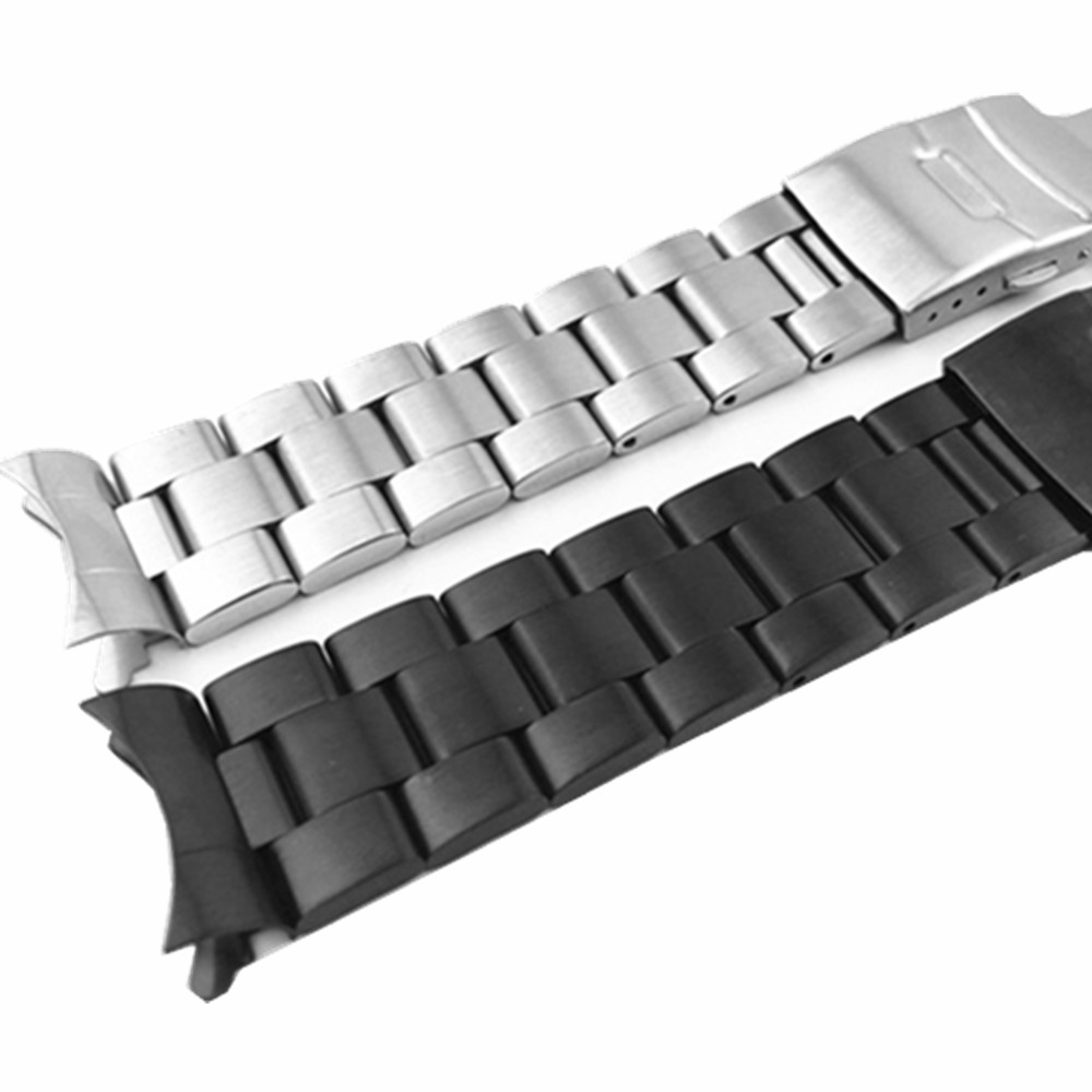 20 22mm Watchband Arc Edge Stainless Steel Strap Arc Mouth Bracelet Metal Band  Watch Band For Casio For Seiko Diy Replace