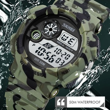 SKMEI 1718 5Bar Waterproof Male Digital Wrist Watch Military Chrono Stopwatch Clock LED Light Men's Watches Relogio Masculino image