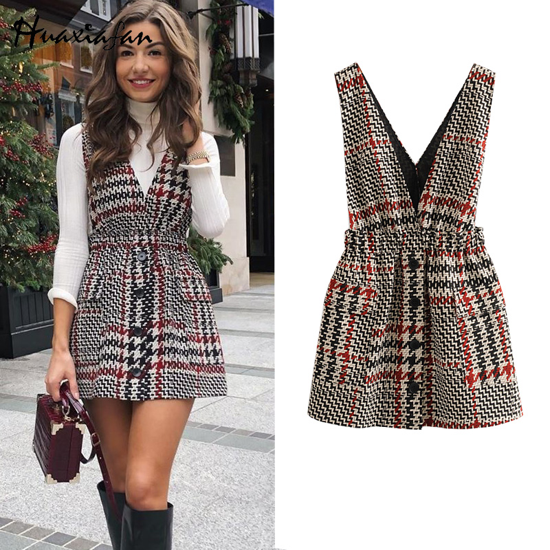 Huaxiafan Women Winter Vest Dress Plaid Houndstooth Deep V Neck Button Pocket Women Mini Dress High Eleastic Waist Vest Dresses
