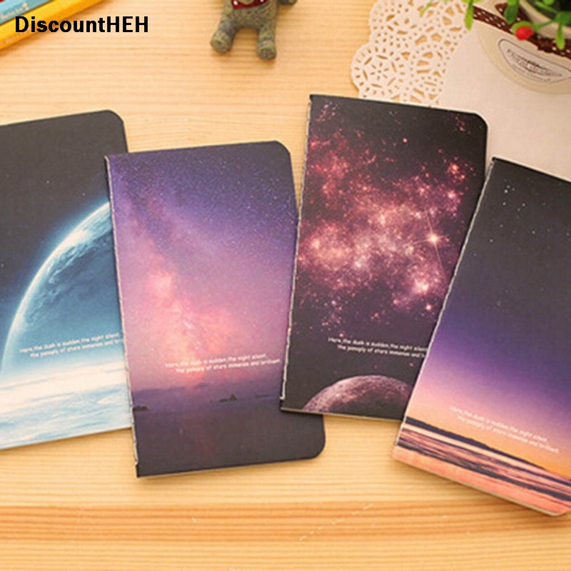 Space Starry Sky Night Sky Series Cover Mini Portable Notebook Notepad Creative Thin Beautiful Diary Book Students Gift Random