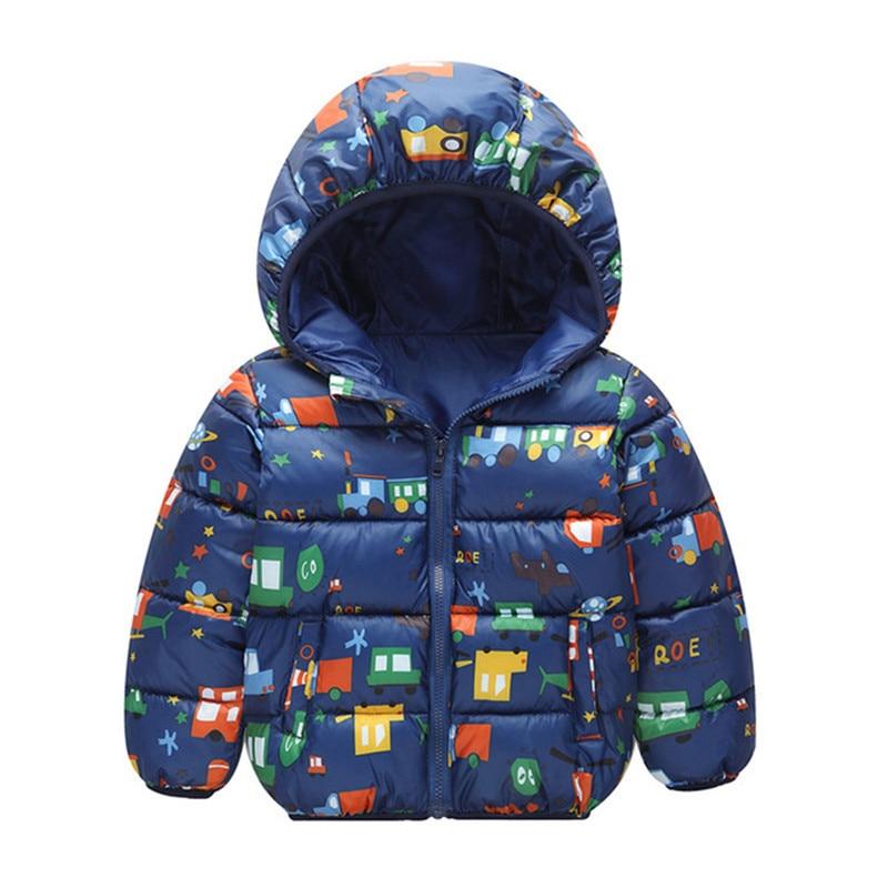 Autumn Boys Down Jackets Hooded Outerwear Children Cartoon Warm Jacket Fashion Baby Kids Coat Clothes Girls Outerwear Jacket 6