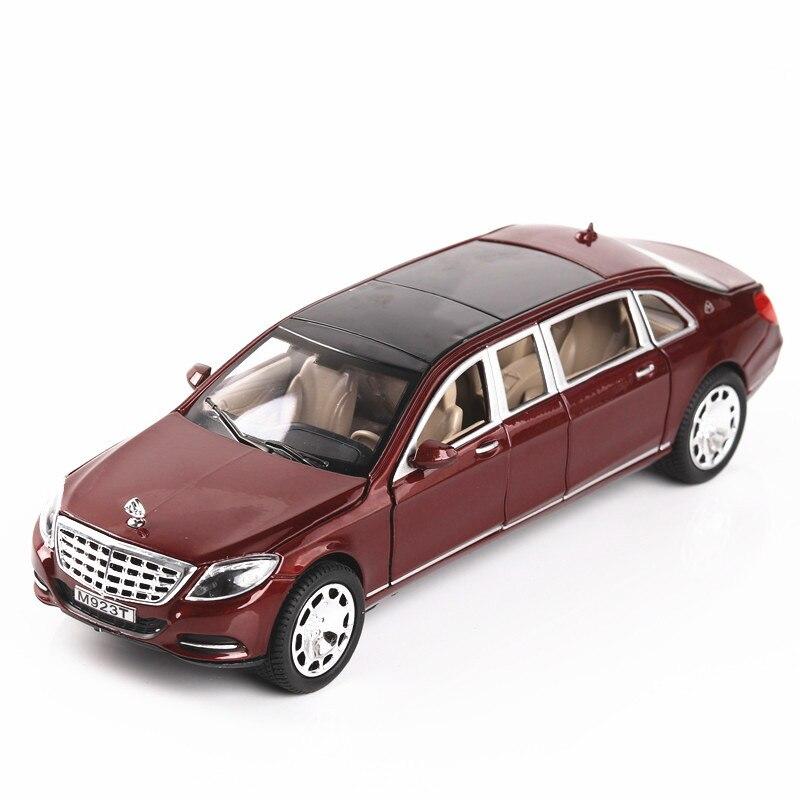 Alliage Maybach S600 allongé moulé sous pression 1:24 voiture modèle haute Simulation véhicule jouet avec musique légère voiture jouets pour enfants