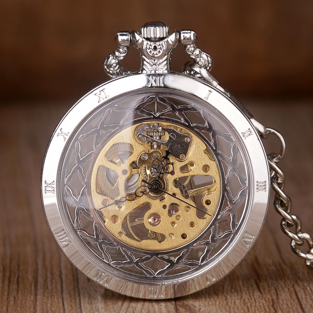 Steampunk Skeleton Mechanical Pocket Watch Men Antique Luxury Brand Hand Winding Pocket Watch Necklace Pocket & Fob Watch Chain