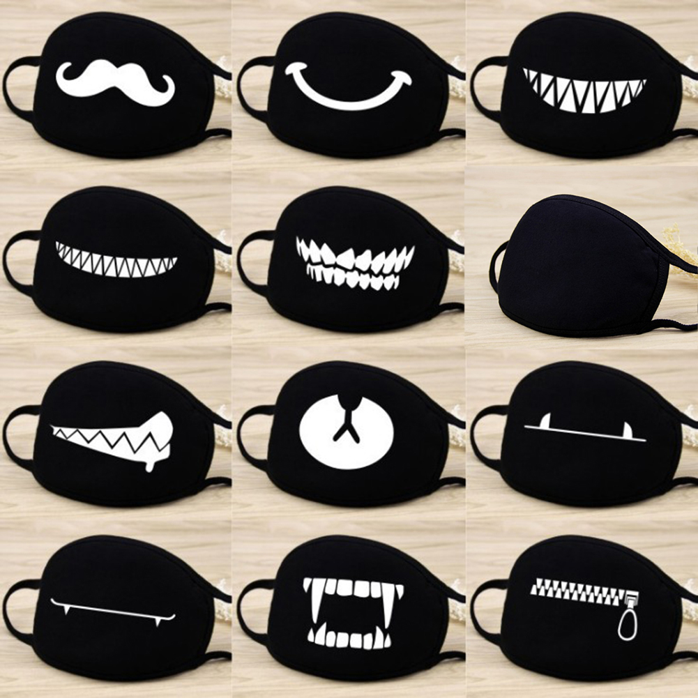 Cotton Windproof Mouth Face Mask 12 Style Teeth Pattern Cartoon Mouth Masks Anime Mask Autumn Fashion Warm Face Mask Hot Sale