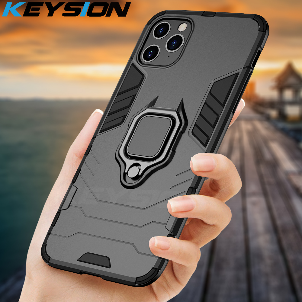 KEYSION Shockproof Armor Case For iPhone 11 Pro Max Stand Car Ring Phone Cover for Apple XS XR 6S 7 8 Plus