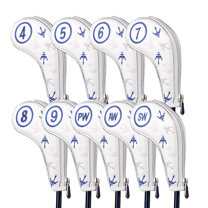 9pcs/lot Zipper Golf Irons Headcovers George Spirits #4-9PAS Golf Iron Set Head Covers 3 Colors For Man Women