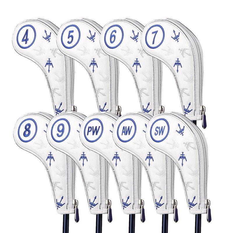 9pcs/lot Zipper Golf Irons Headcovers George Spirits #4-9PAS Golf Iron Set Head Covers 3 Colors For Man Women