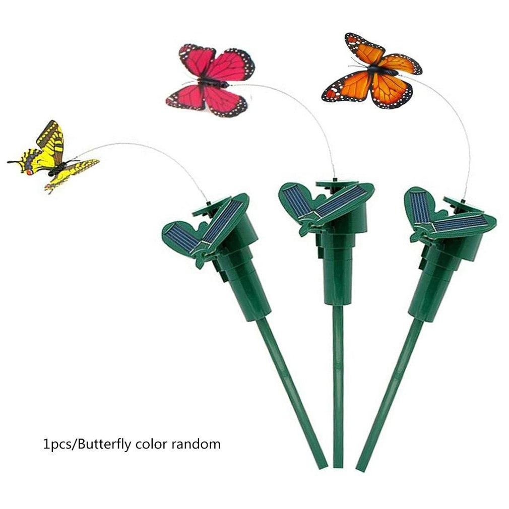 1 stücke Garten Solar Powered Simulation Vogel Elektrische Solar Schmetterling Fliegende Feder Hummingbird Spielzeug Zufällige Farbe