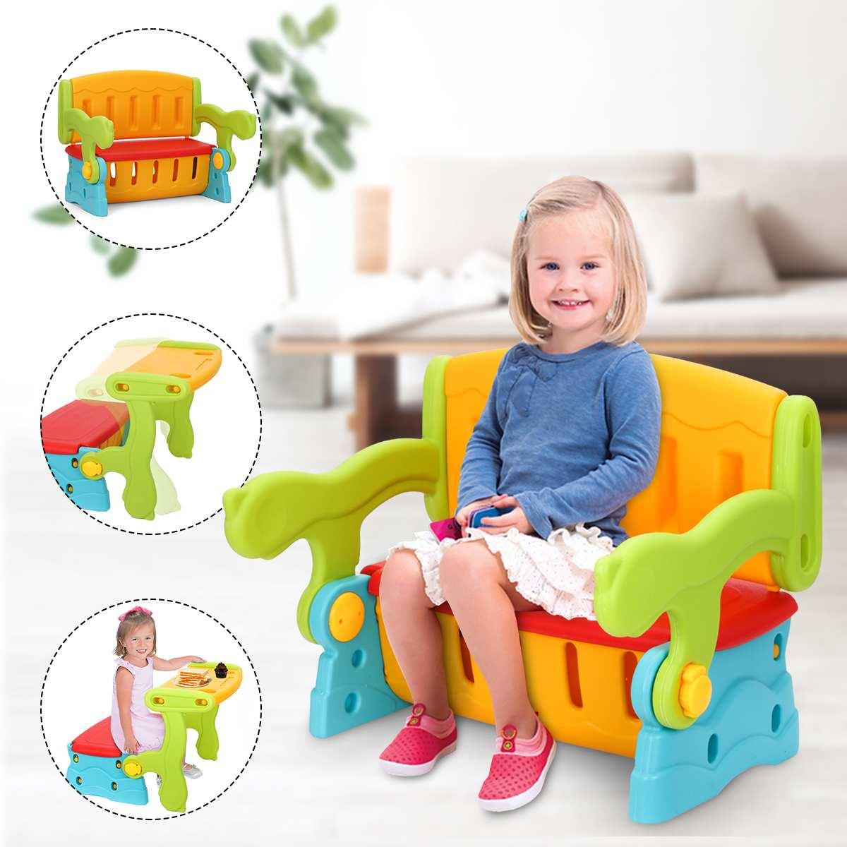 3-in-1 Multifunction Chair Kids Switching Playing Study Desk Toddler Seat Storage Box Stool Home School Children Furniture Set