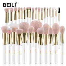 BEILI – ensemble de pinceaux de maquillage synthétiques de haute qualité, brosses professionnelles pour fond de teint, ombre à paupières, poudre, rose, or et blanc