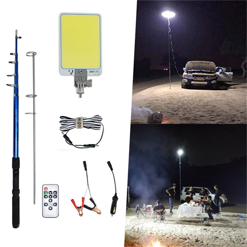 Portable Outdoors Road Travel LED Camping BBQ Spotlight Emergency Lamp Ip65 COB Rechargeable Dimmable 4.5m Telescopic Post