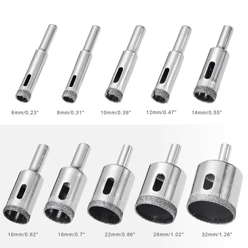 10 Pcs 6-32mm Diamond Drill Bit Set Use for Glass Tile Marble Granite Core Hole Saw Drill Bits Electric drilling tool 9