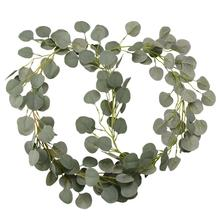 2 PCS Artificial Eucalyptus Garland Birthday Leaves Vine DIY Party Decoration Wedding Baby Shower Home Favors Decor Supplies