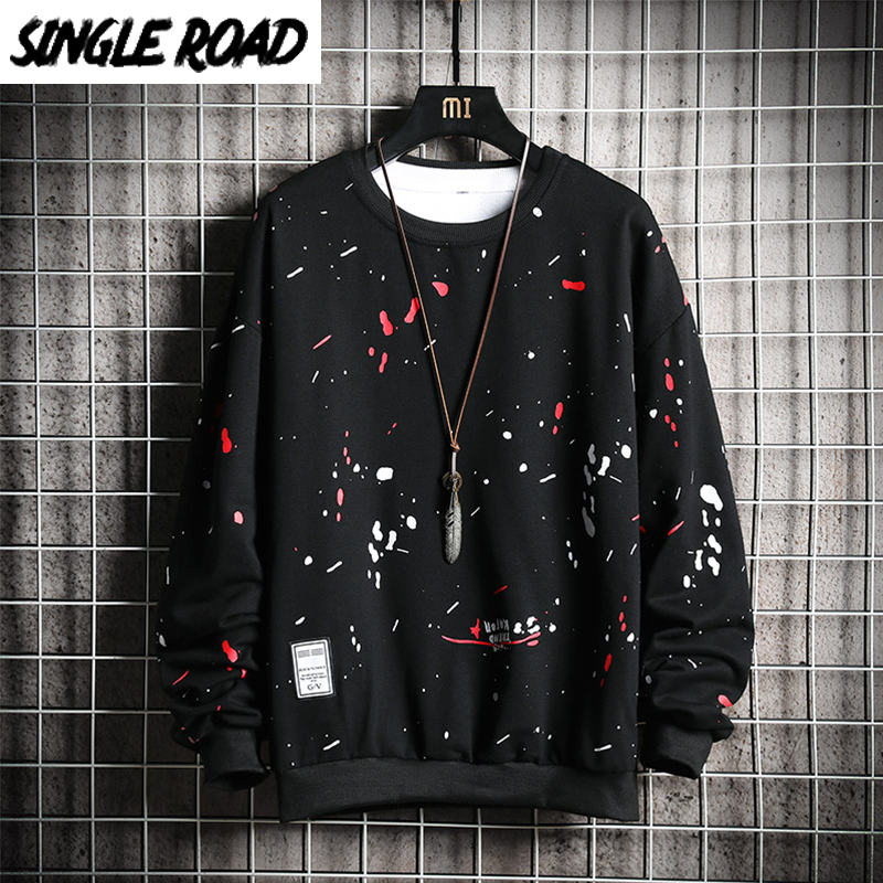 SingleRoad Crewneck Sweatshirt Men Graffiti Print Hip Hop Harajuku Japanese Streetwear Black Hoodie Men Sweatshirt Male Hoodies