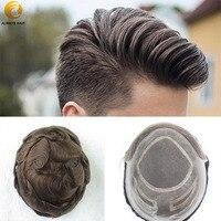 Прочный натуральный парик для волос, человеческие волосы, плотность 130%, протез для волос, кружевной передний парик для мужчин 6