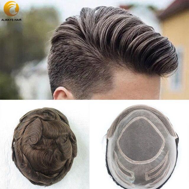 """Dayanıklı doğa saç çizgisi insan saçı peruk yoğunluğu 130% saç protezi dantel ön peruk erkekler 6 """"8x10 Mono merkezi erkekler saç parçası"""