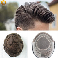 Durable Nature Hairline Human Hair Toupee Density 130% Hair Prosthesis Lace Front Wig Men 6 8x10 Mono in Center Men Hair Piece