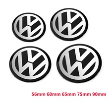 цена на 4pcs 56mm 60mm 65mm 75mm 90mm Black Car Wheel Center Hub Cap Badge Logo Emblem Decal Wheel Sticker Styling For VW