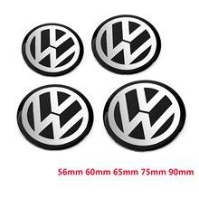 4 pces 56mm 60mm 65mm 75mm 90mm preto centro da roda do carro hub tampão emblema logotipo decalque da roda adesivo estilo para vw