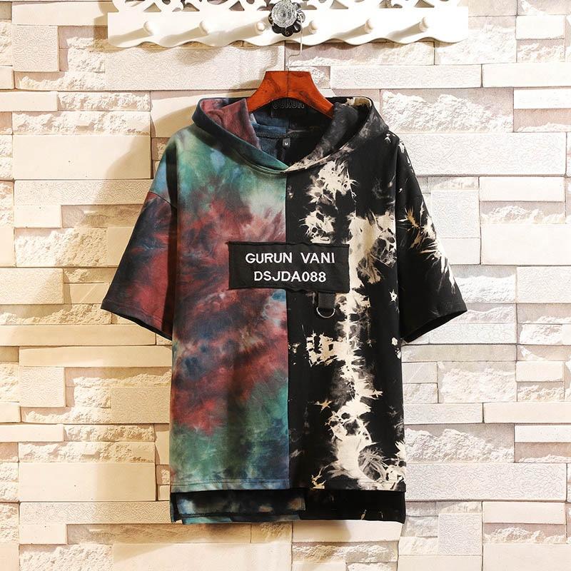 Mens Tops Tees Summer Print Short Sleeve With Sweatshirt Hooded T Shirt Hip Hop Streetwear Sports Wear Tshirt