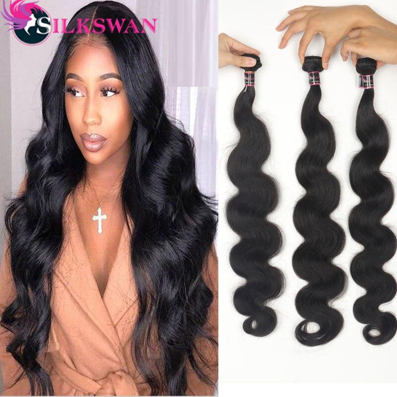 Silkswan Hair 30 32 34 Inch Body Wave 8-34 Inch Bundles Hair Weave Natural Black Brazilian Remy Hair Weft For Black Women
