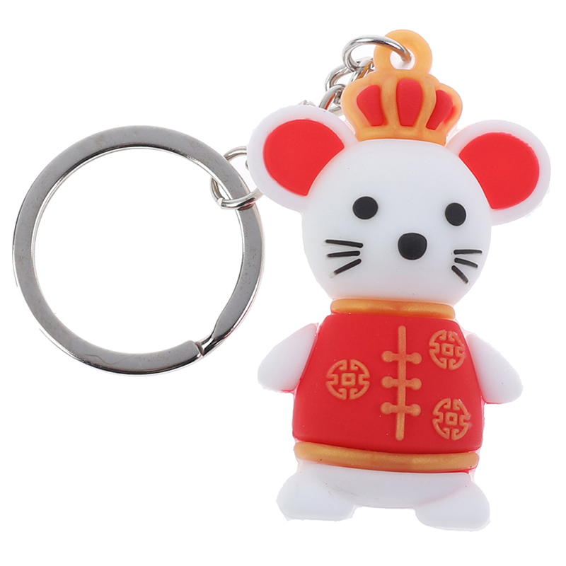 Year Of The Rat 3D Lucky Mouse Keychain Keyring Fashion Couple Bag Charms Pendant Key Chain Holder New Year Gifts Hot