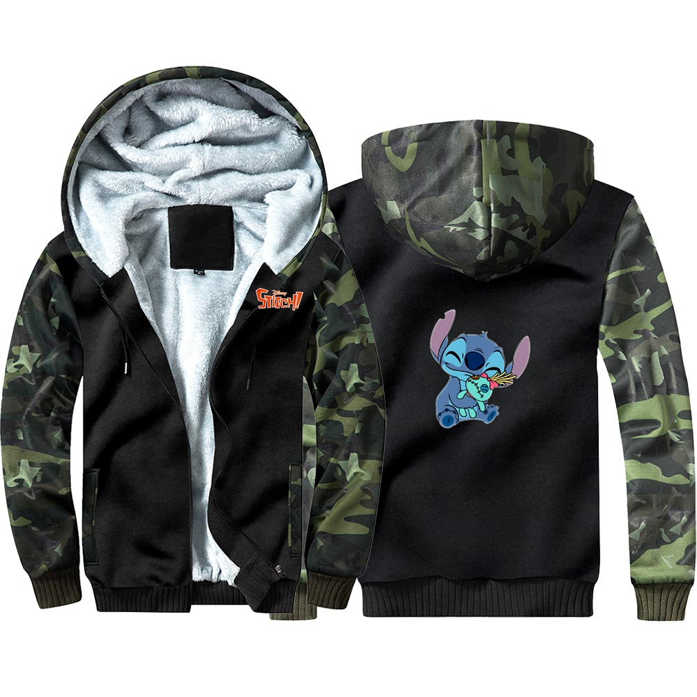 New Anime Lilo Stitch Hoodie Sweatshirts Winter Thicken Hooded Coat Cosplay Warm Men Clothing