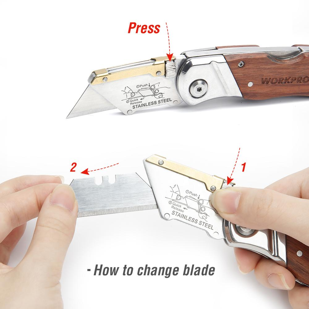 WORKPRO Heavy Duty Knife Folding Knife Pipe Cutter Pocket Knife Wood - Outillage à main - Photo 6