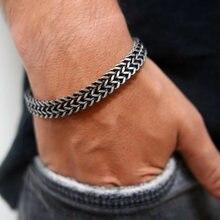 Vnox Vintage oksydowany fajny podwójny łańcuszek bransoletki dla mężczyzn ze stali nierdzewnej Punk antyczny sześcienny łańcuch ber mężczyzna Pulseira