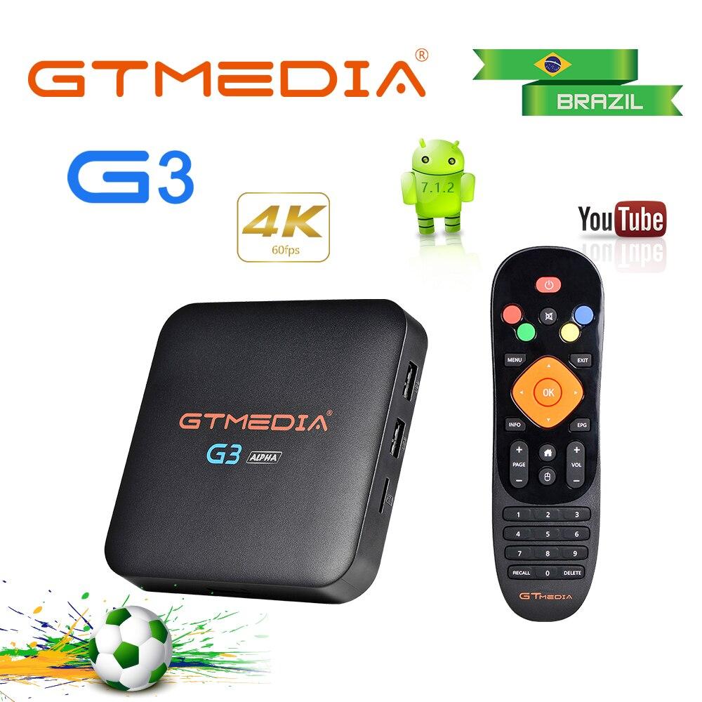 Boîte IPTV GTMEDIA G3 android tv Box H.265 WIFI Bluetooth ACM + du brésil espagne 8000 + Live 1500 vod smart iptv boîte d'abonnement