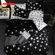 Sisher Modern Geometric Duvet Cover sets Single Twin Queen King Size Plaid Quilt Covers set Black Swallow Bedclothes Bed Linen(China)