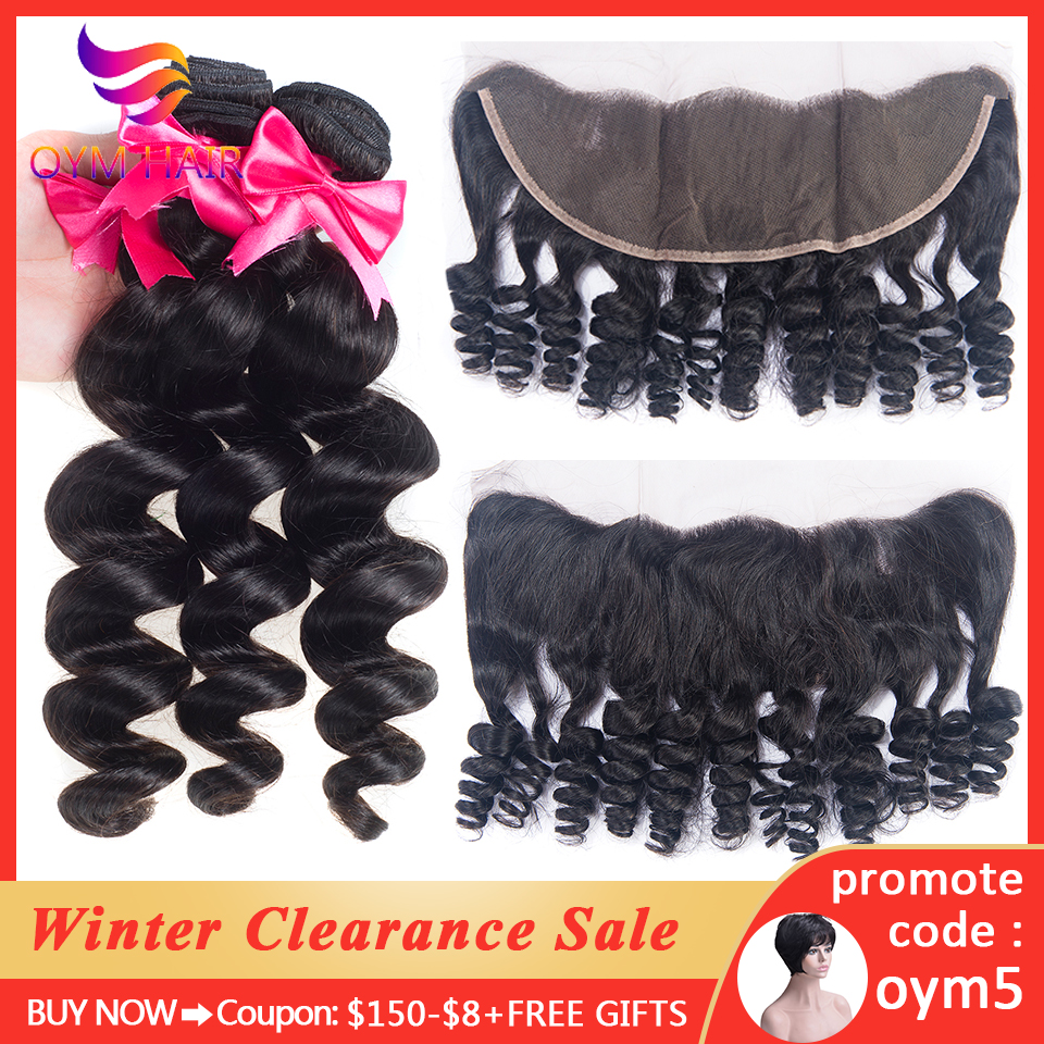 OYM HAIR Loose Wave Human Hair Bundles With Frontal Remy Brazilian Hair Weave 3 4 Bundles With 13X4 Frontal Lace Closure