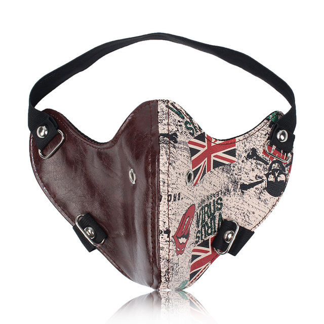 Cool skull motorcycle face mask PU leather Punk Rock style half face mask Halloween Cosplay party Leather Mask Moto casco mask 4
