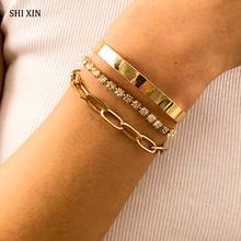 SHIXIN 3 Pcs Iecd Out Tennis Chain Rhinestone Bracelets Bangles Set for Women Charms