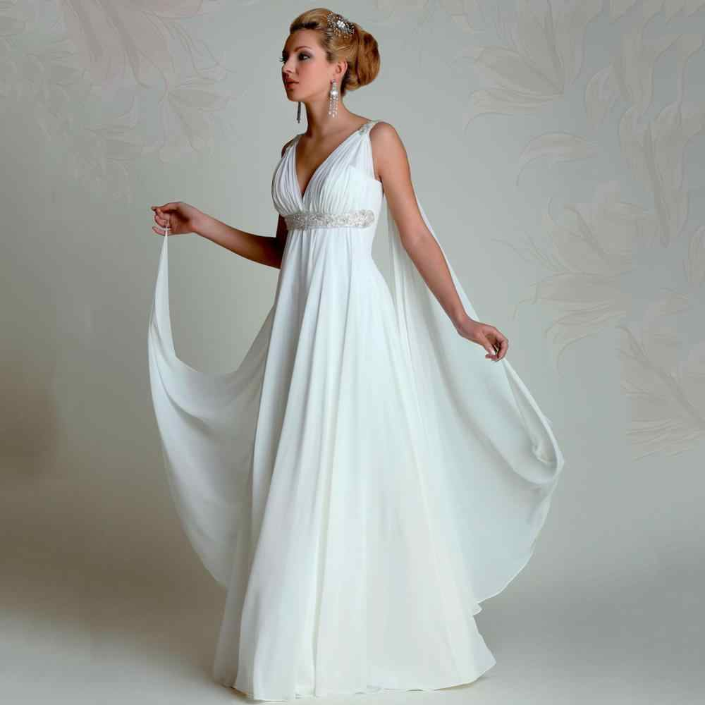 יווני אלת שמלות כלה 2019 V צוואר אימפריה קו מלא אורך ואגלי לבן שיפון קיץ חוף שמלות כלה בהריון