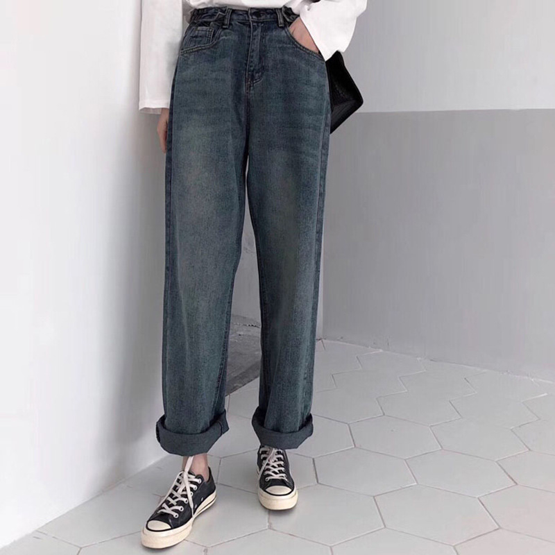 New Style Korean-style Casual Versatile Button Waist High Waist Jeans Women's Loose-Fit Slimming Loose Pants Students Straight-L