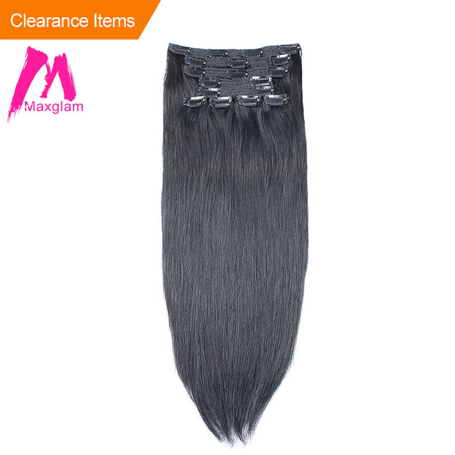 Maxglam Straight Clip ins human hair extensions 140g/10pcs 100g/9pcs Pieces Brazilian Remy Hair extension 1# #1B #2 #4 #27 #613