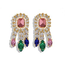 Vintage Exaggerated Bling Crystal Drop Earrings Women Girls Colorful Rhinestone Dangle Bridal Party Jewelry