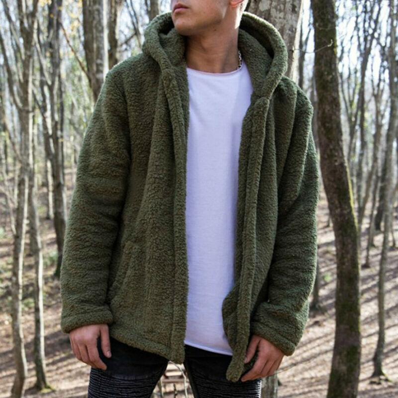CC/_ Mens Fluffy Fleece Hooded Coat Winter Warm Jacket Outwear Cardigans Thick To