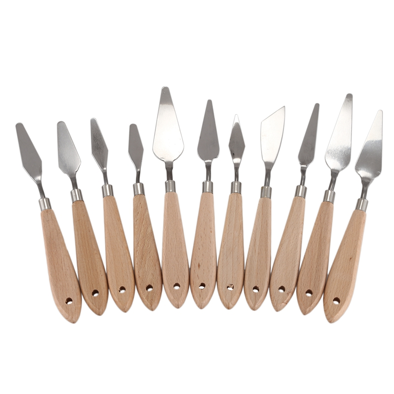 11 Piece Stainless Steel Oil Painting Palette Knives Set Palette Wood Handle Palette Spatula Painting Palette Knife