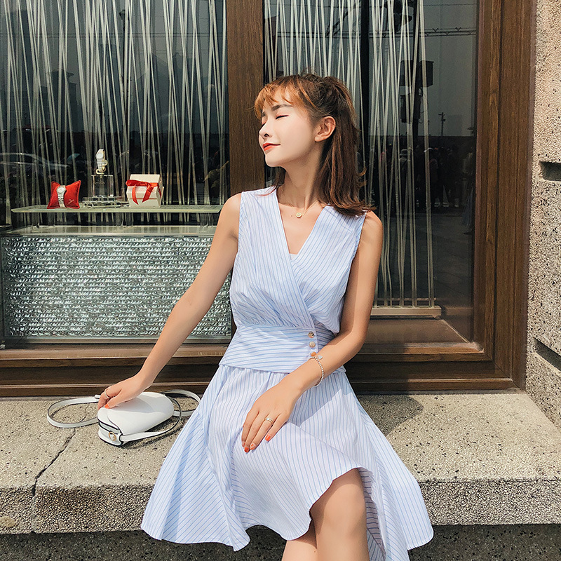 [Dowisi] WOMEN'S Suit Summer 2018 New Style Korean-style Sleeveless Shirt + Waist Hugging Skirt Two-Piece Set F6615
