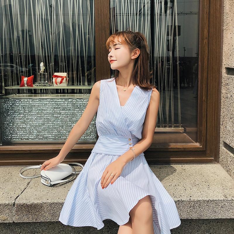 [Dowisi] WOMEN'S Suit Summer 2018 New Style Korean-style Sleeveless Shirt + Waist Hugging Skirt Two-Piece Set F6615
