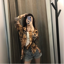 2019 Autumn Shirt New Foreign Air Hong Kong Style Retro Loose Woman Print Women Blouses