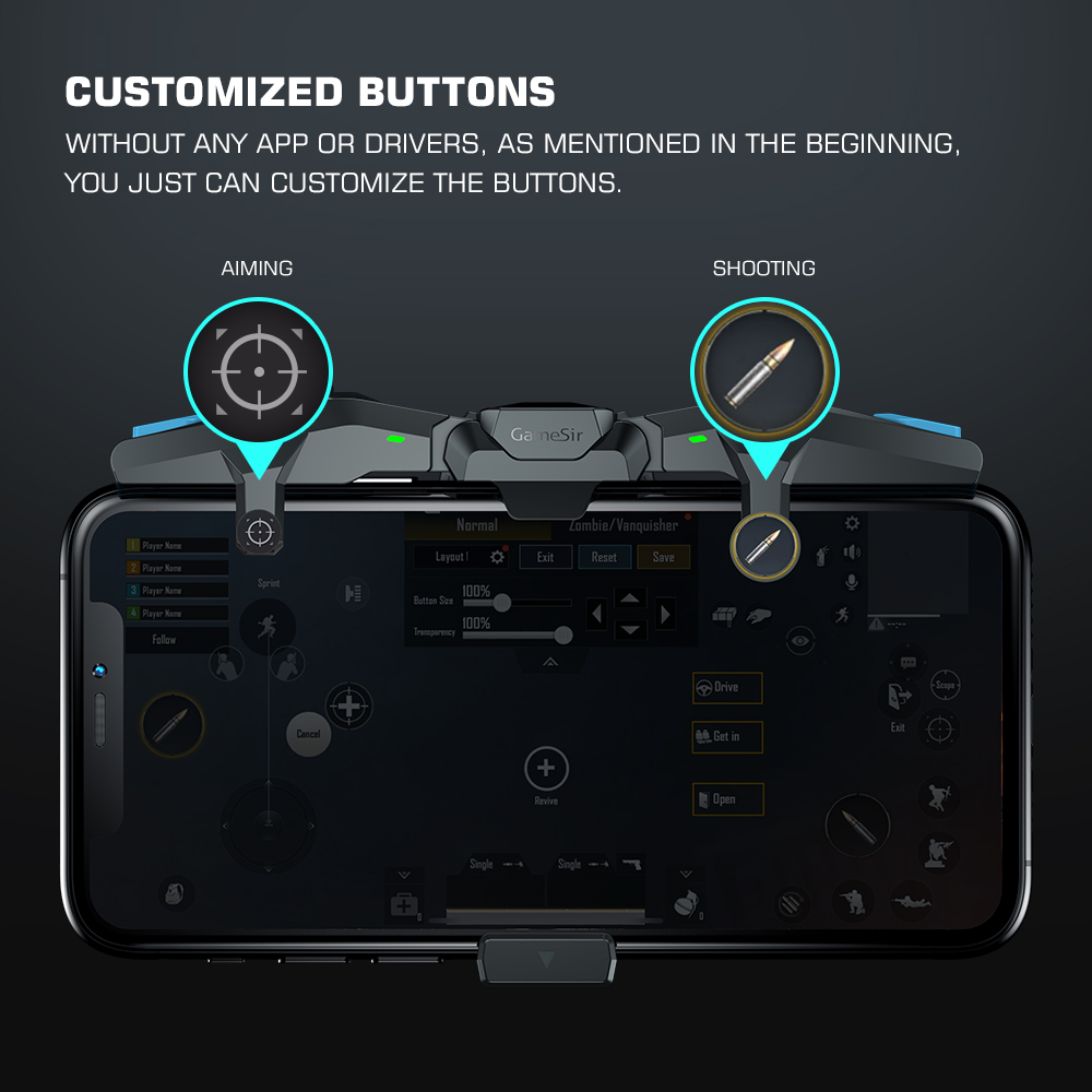 GameSir F4 Falcon PUBG Mobile Gaming Controller Gamepad Plug and Play for iPhone / Android Zero Latency for Call of Duty 4