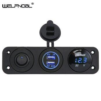 цена на Universal 3 in 1 Cigarette Lighter Socket  3.1A Dual USB Power Adapter Charger  LED Digital Voltmeter