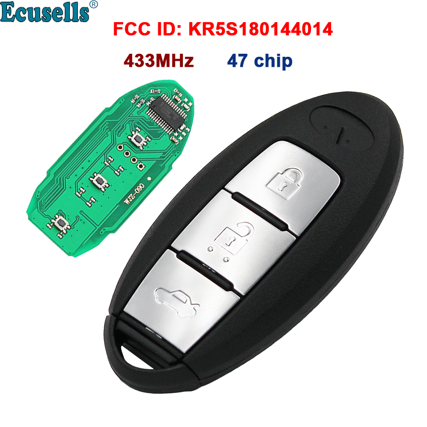 New Smart 3 buttons Remote Key Fob 433MHZ with 47 Chip for <font><b>Infiniti</b></font> <font><b>JX35</b></font> <font><b>QX60</b></font> KR5S180144014 with insert key image