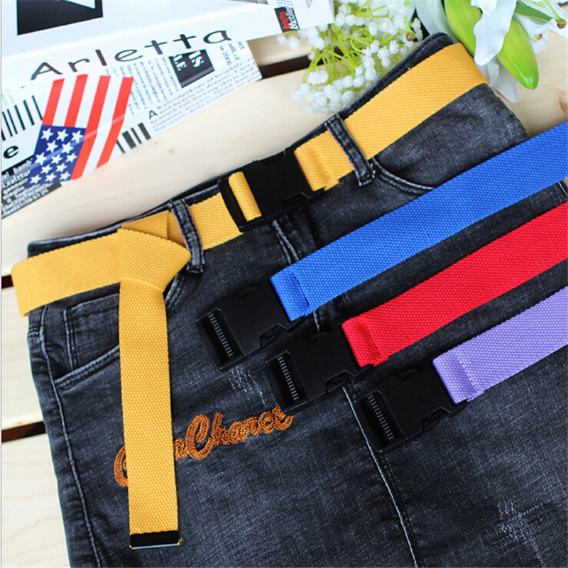 116cm Adjustable All-Match Belt Girls Boys Unisex Korean Style Canvas Belts Harajuku Buckle Solid Color Long Belt Cinturon Mujer