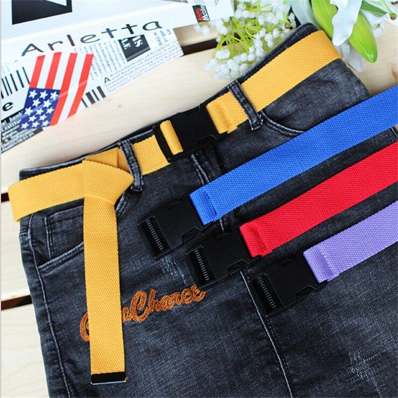 116cm Adjustable All-Match Belt Girls Boys Unisex Korean Style Canvas Belts Harajuku Buckle Solid Color Long Belt Cinturon Mujer